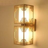 High end китайский Стиль Классические Элегантные Медь Ткань E14 * 1/2 настенный светильник для Гостиная Спальня проход коридор AC 80 265 В 1120