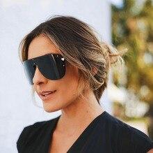WOWSUN Oversized Sunglasses Women Men Sexy Shield 2018 Luxury Brand Big Frame Sun glasses Black Gray Rivet Eyewear Lunette A300