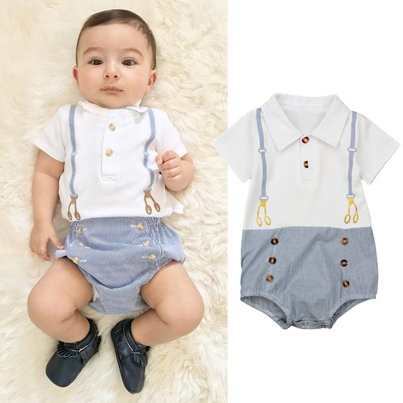 2019 New Baby Boys Turn down Collar Striped Rompers Toddler Infant Kids Sweet New Fashion Summer