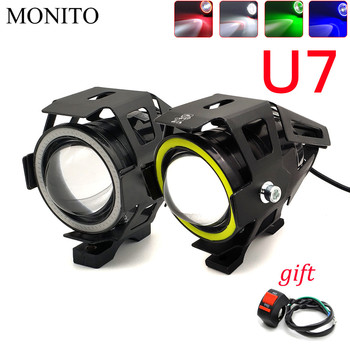 125W U7 LED Motorcycle Headlight Angel Eyes Driving Head Lamp Fog Light For KTM Duke/RC 125 200 390 640 690 RC8 duke390 rc200 image