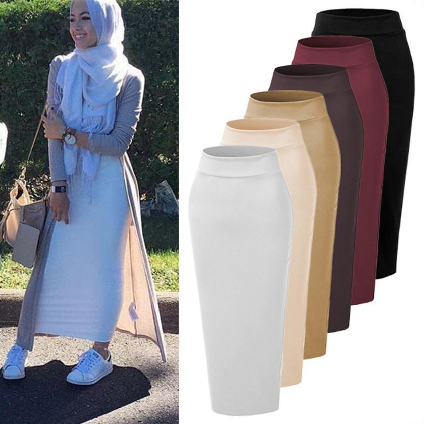 8 Colors 105cm Womens' Elegant Modest Muslim Islamic Warm Pencil Skirt New Bandage Skirt Women Ankle-Length Long Skirts WJ2264