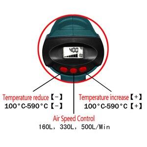 Image 5 - Buse chauffante 2000W, 220V, prise ue, contrôle intelligent, pistolet thermique industriel thermorétractable, buse chauffante, écran LCD
