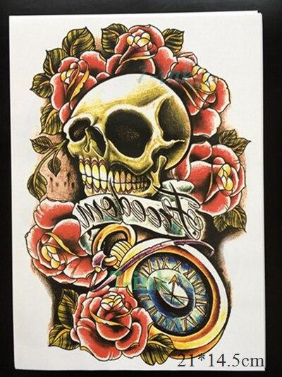 Sexy rocker waterproof temporary tattoo skull clock roses armband tattoo sticker men women large size 2114 5cm in temporary tattoos from beauty health on