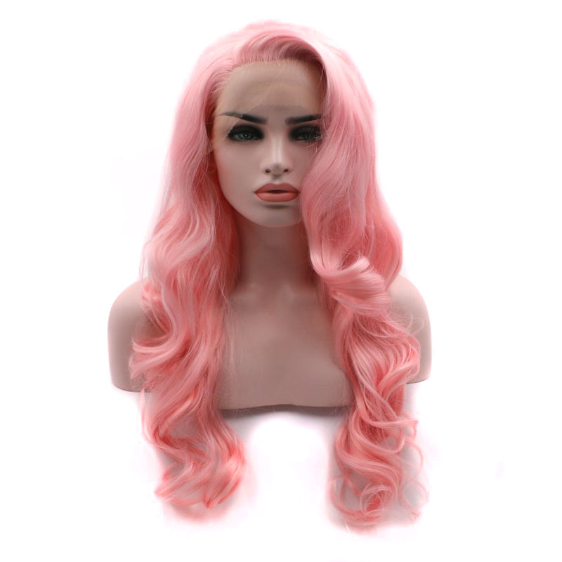 Bombshell Living Pink Synthetic Lace Front Wig Bouncy Curly Hand Tied Heat Resistant Fiber Hair For