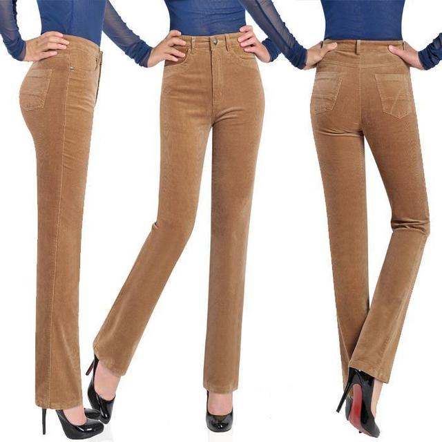646d902dcd977 Free Shipping Women New Spring Autumn Candy Color Corduroy Straight Pants  Ladys Plus Size High Waist Long Trousers Size 27-38