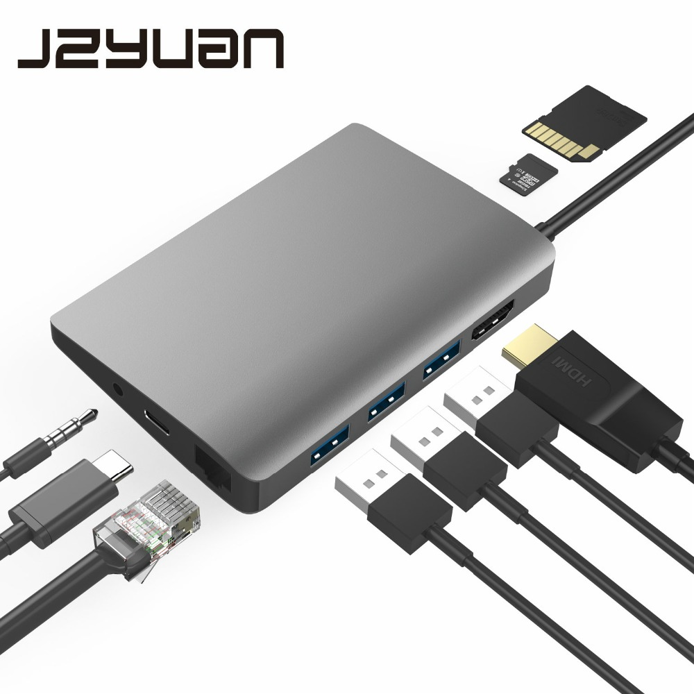 JZYuan 9 en 1 HUB USB C 3.1 HUB vers HDMI 4 K/30Hz Ethernet RJ45 Type C Dock de charge pour MacBook Pro Huawei P20 Pro HUB USB 3.0