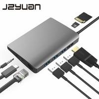 JZYuan 9 in 1 HUB USB C 3.1 HUB to HDMI 4K/30Hz Ethernet RJ45 Type C Charging Dock For MacBook Pro Huawei P20 Pro USB HUB 3.0