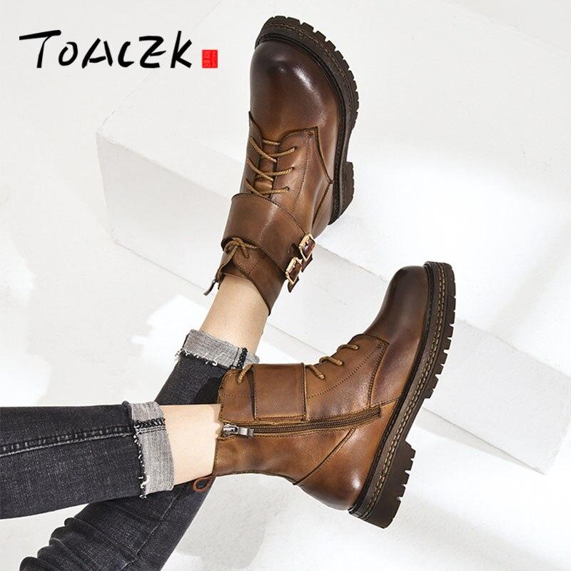 مارتن الأحذية الخريف الشتاء جديد أعلى طبقة من جلد البقر المرأة حذا فردي للسيدات الأزياء بسيطة الجذر الأحذية-في أحذية الكاحل من أحذية على  مجموعة 1