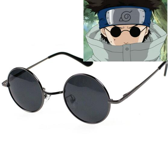 Biamoxer New Naruto cosplay Aburame Shino cosplay round lens sunglasses black frame sun glasses widely use CS65