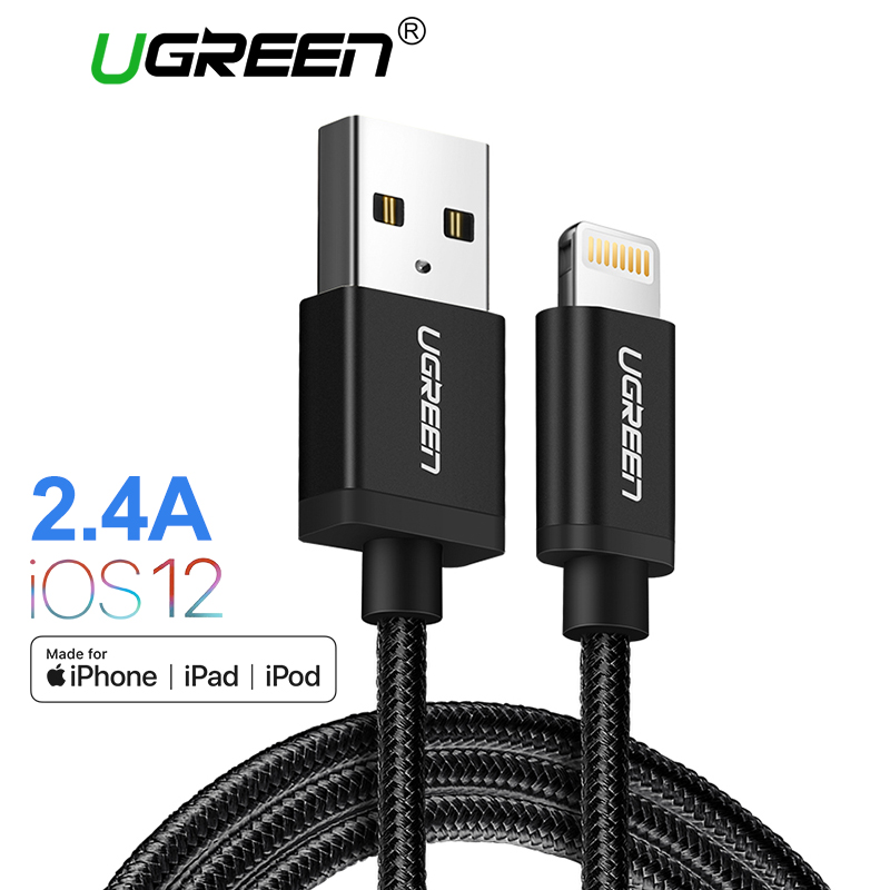 Ugreen MFi Cable USB para iPhone Xs Max 7 más 2.4A Cable de carga rápido del relámpago para el iPhone 6 datos USB cable del Cable