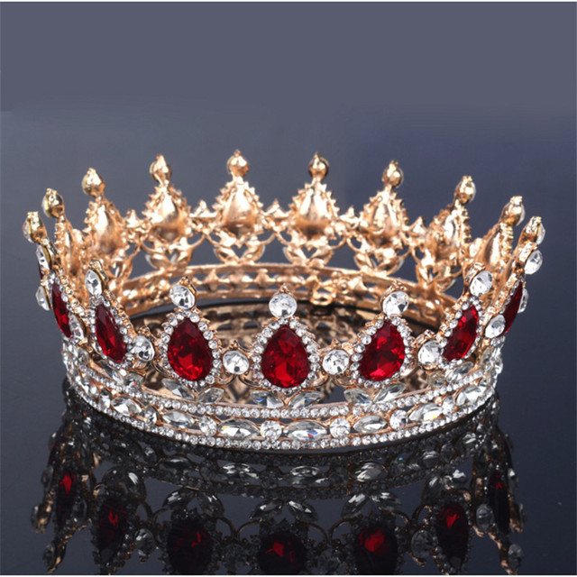 Vintage Baroque Queen King Bride Tiara Crown For Women Headdress Prom Bridal Wedding Tiaras and Crowns Hair Jewelry Accessories 1
