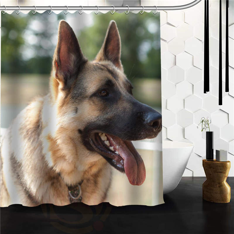 New Arrival Modern Design Bathroom Product Print Cute Pet German Shepherd Dog Polyester Shower Curtain 152x180cm 120x180cm