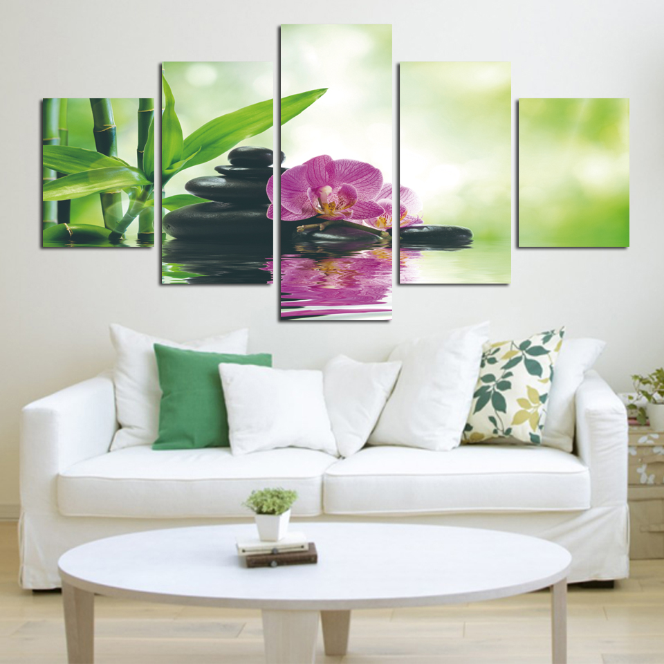 pcs print poster canvas wall art pink orchids decoration art oil painting modular pictures on the: day orchid decor