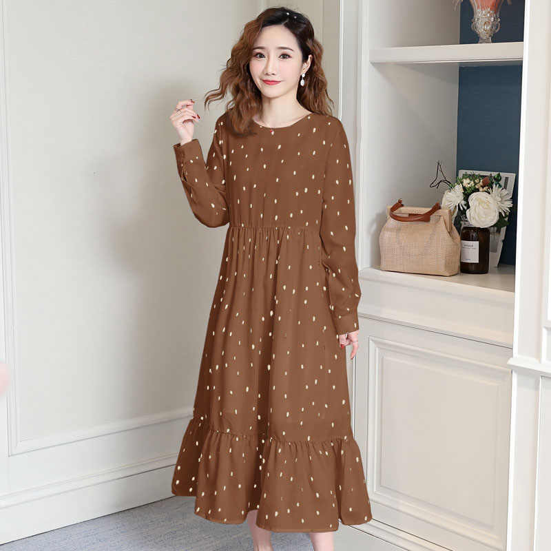 spring autumn fashion Dress women 2019 new large size wave point chiffon O-neck loose belly dress female long summer dress d004