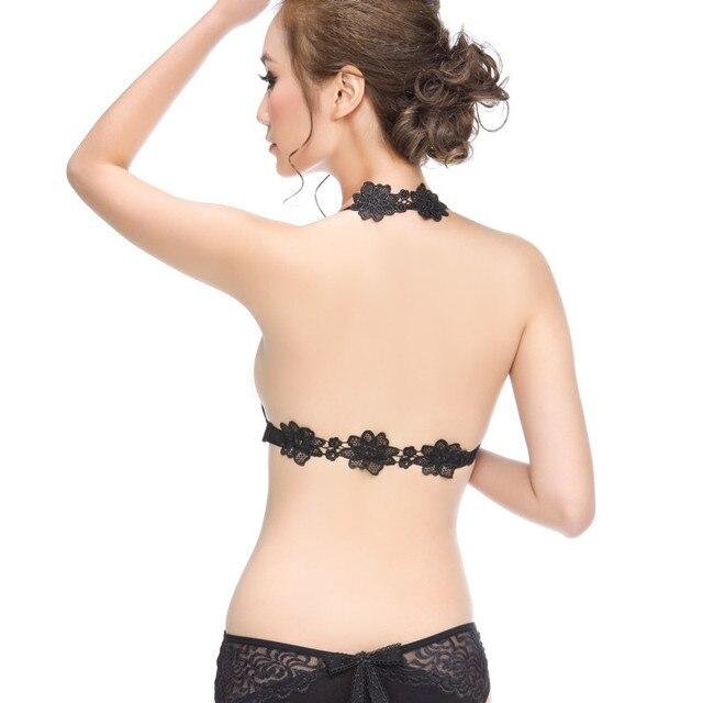 b2e5cc2648a58 Front button lace halter-neck no shoulder tape sexy leopard print young  girl underwear push up bra women lingerie underwear bra