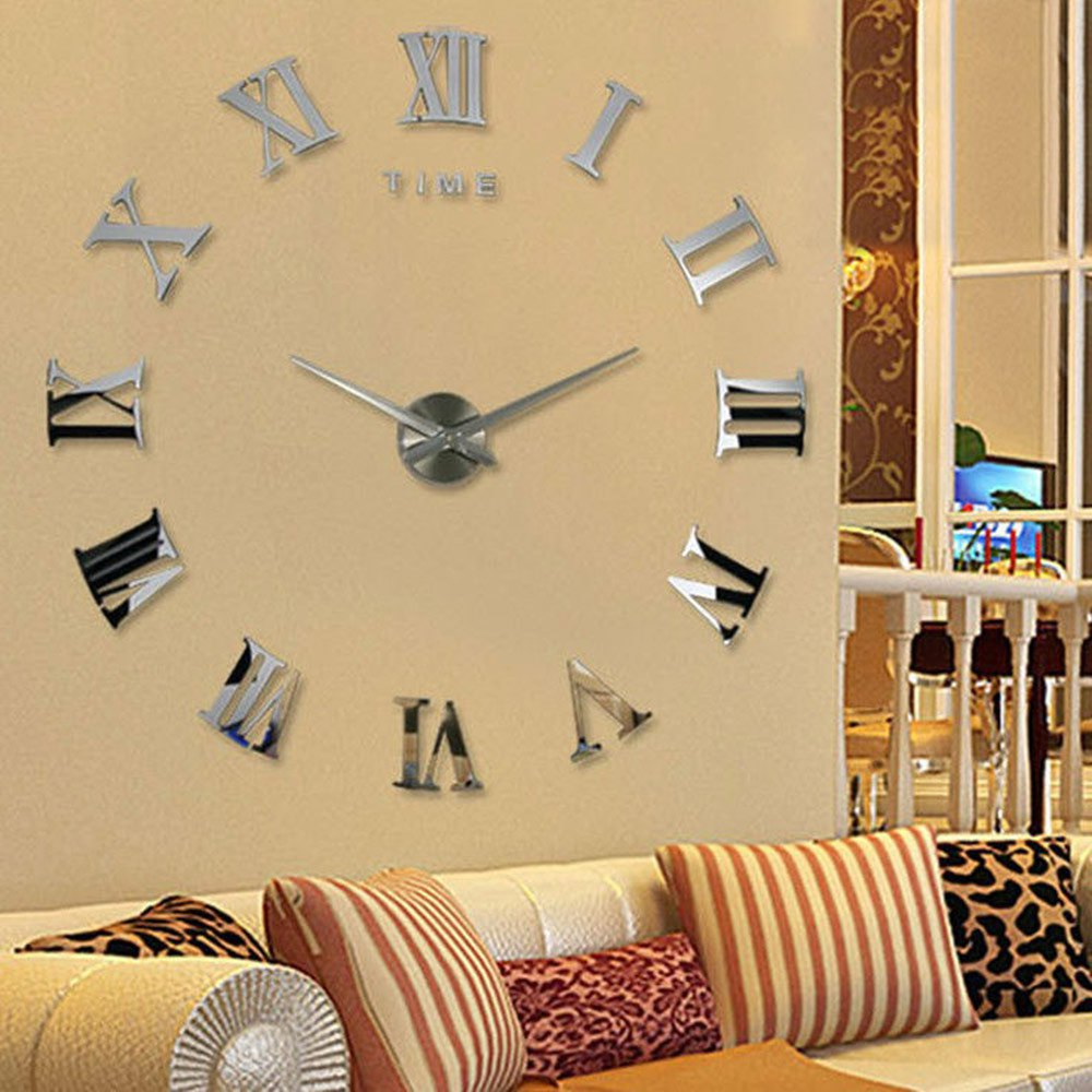 3D DIY Wall Clock Watch Living Room Metal Acrylic Mirror Home ...