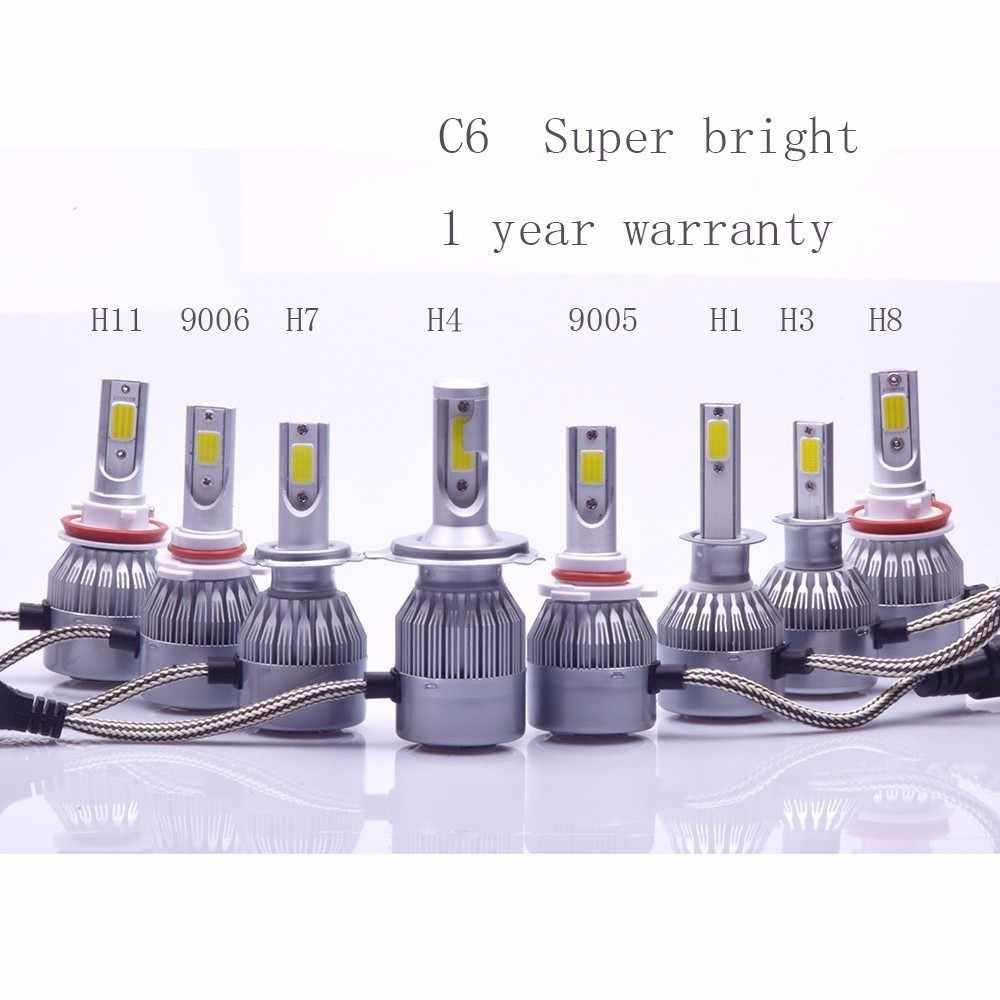 72W COB H7 H1 H4 H3 H11 H8 H9 9005 9006 9007 9012 880 C6  Headlamp Light Golden Car HeadLight Bulbs 3000K 6000K Led lamp 12V 24V
