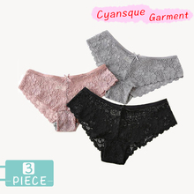 3 Pieces Panties For Underwear Woman Sexy Lace Breathable  Hollow Female Panty Transparent Briefs Women