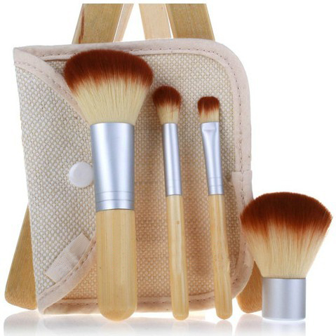 4pcs makeup brush set bamboo elaborate handle hessian bags