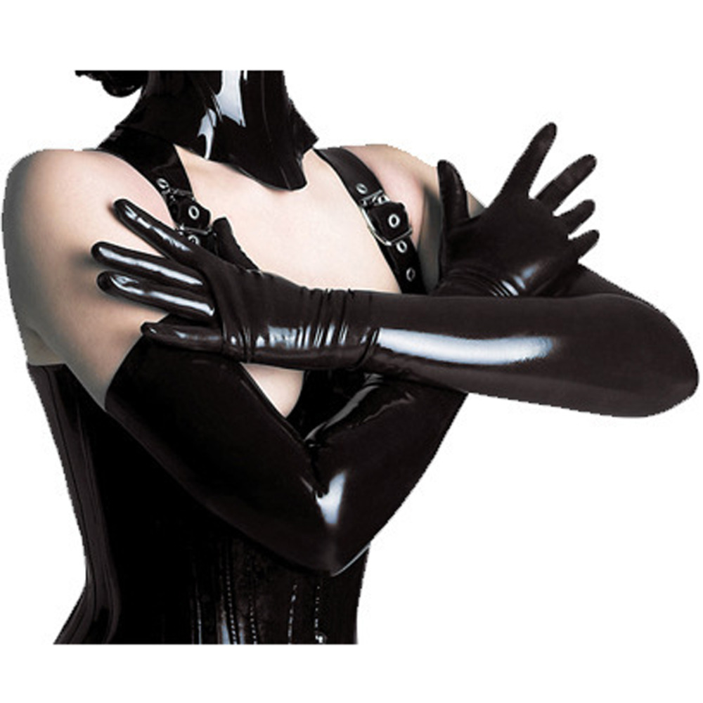Black leather gloves female - Fashion New Evening Party Elbow Length Patent Leather Luxury Women Long Gloves Black Color Flexible Sexy