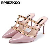 Slippers Stiletto Pointed Mules Closed Toe Slides Sandals Women Purple T Strap Pumps High Heels Rock Stud Shoes Gladiator Rivet
