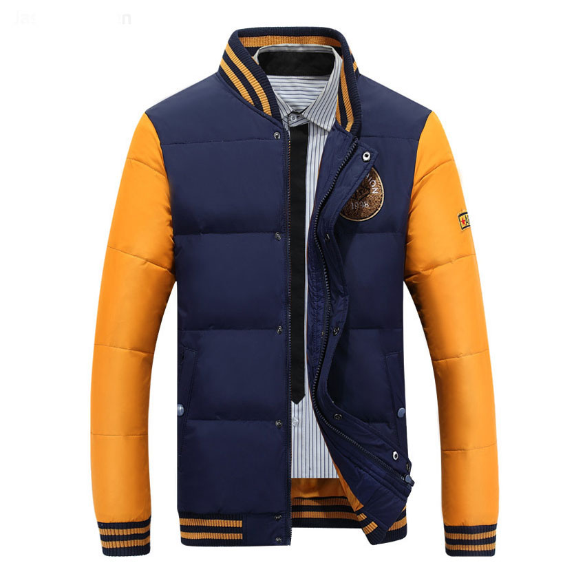 2017 casual jacket coat autumn and winter warm mens down jacket embroidered collar mens down jacket 100cy