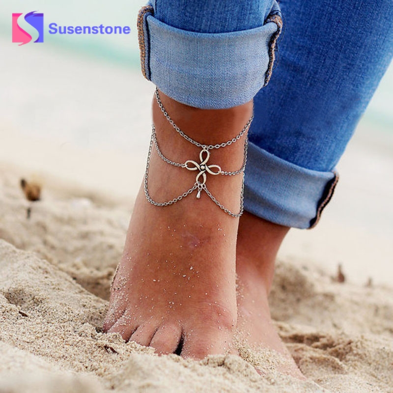 susenstone New Summer Anklets Bracelet Sexy Beach Barefoot Women Boho Crystal Sandal Foot Tassel Anklet Chain Statement Jewelry