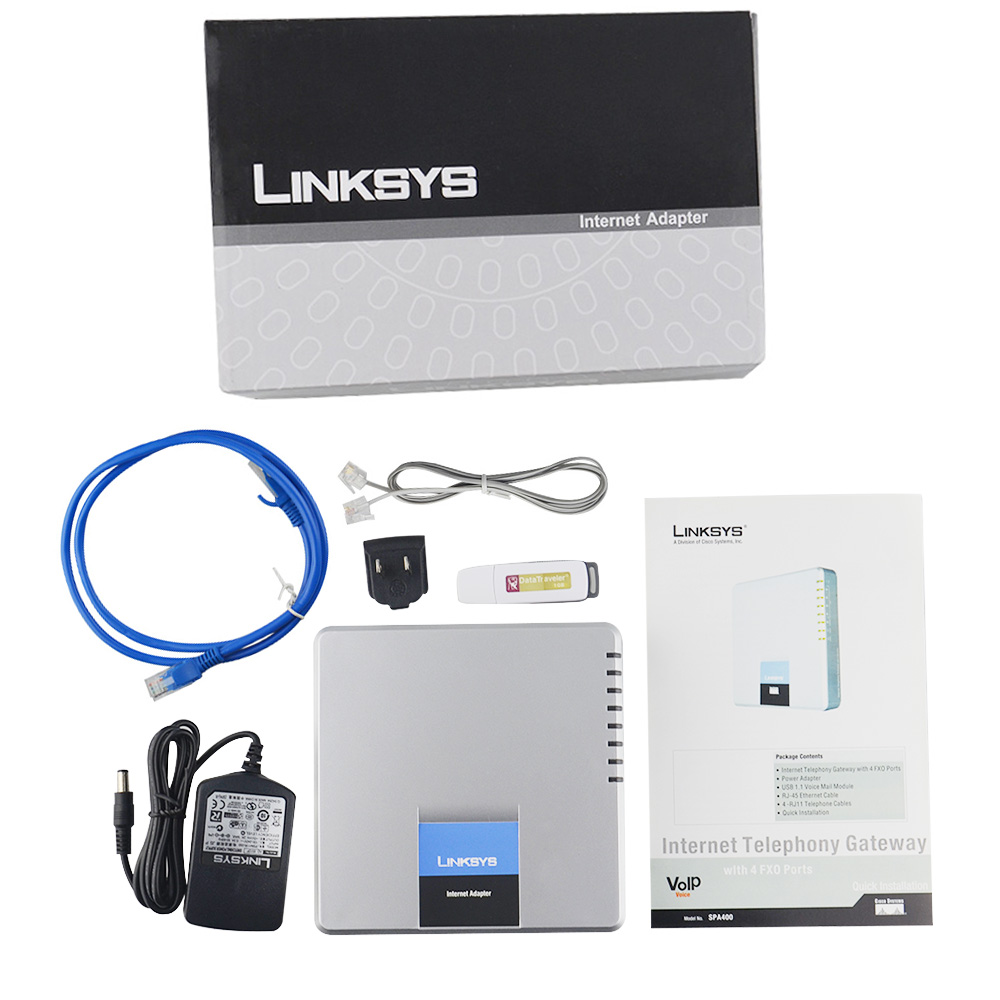 Clearance SaleInternet-Adapter Linksys-Spa400 Voip Gateway for Voice 4FXO Pstn-Solution Multi-Port