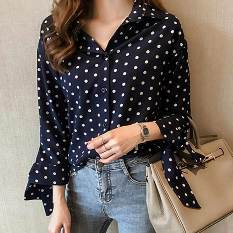 1554d12a3225b ... Sexy Polka Dot Blouse Women Office Lady Long Sleeve Shirt Black White  Red Fashion Loose Elegant ...