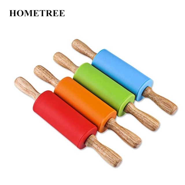 Hometree Silicone Rolling Pin For Kids Dough Pastry Roller Wooden Handle Pins Baking Kitchen