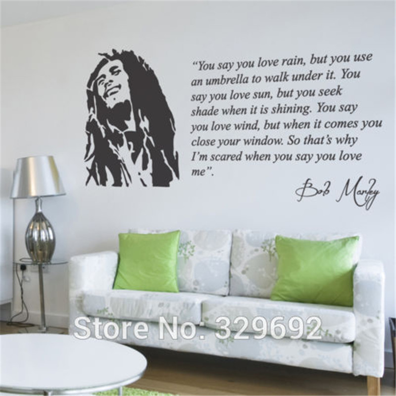 Mouse over image to zoom Bob Marley Lyrics You Say You Love Rain Wall Sticker Decal Vinyl Wall Art Mural tx-183