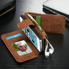 2016 Retro Folded Wallet Case for iPhone On 5 5s SE  2 in 1 Second Layer Leather Cover Case for iphone5 Flip Stand Bag