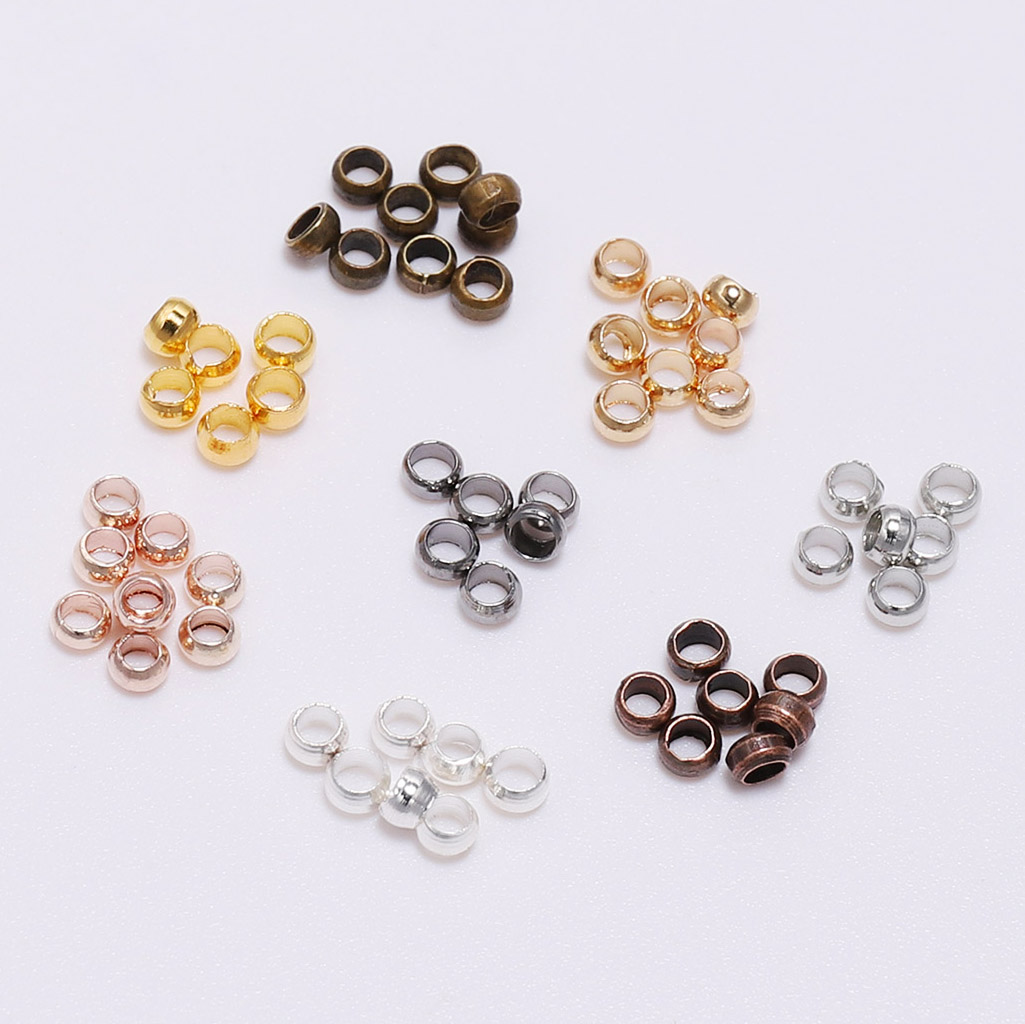 500pcs/lot 2.5 3.5 4mm Ball Plunger Doreenbeads Ball Crimps End Beads Stopper Spacer Beads For Jewelry Making Findings Supplies