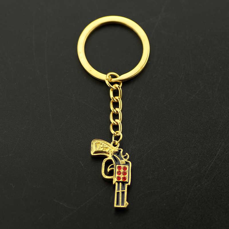 Hip Hop Uzi Gun brelok osobowość Rap Rock złoty czerwony kryształ Postol breloki dla mężczyzn moda breloczek moda bibeloty