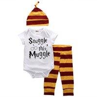 3PCS Baby Clothing Set Newborn Baby Boys Girls Letter Muggle Bodysuit Tshirt Stripe Pants Hat Outfits