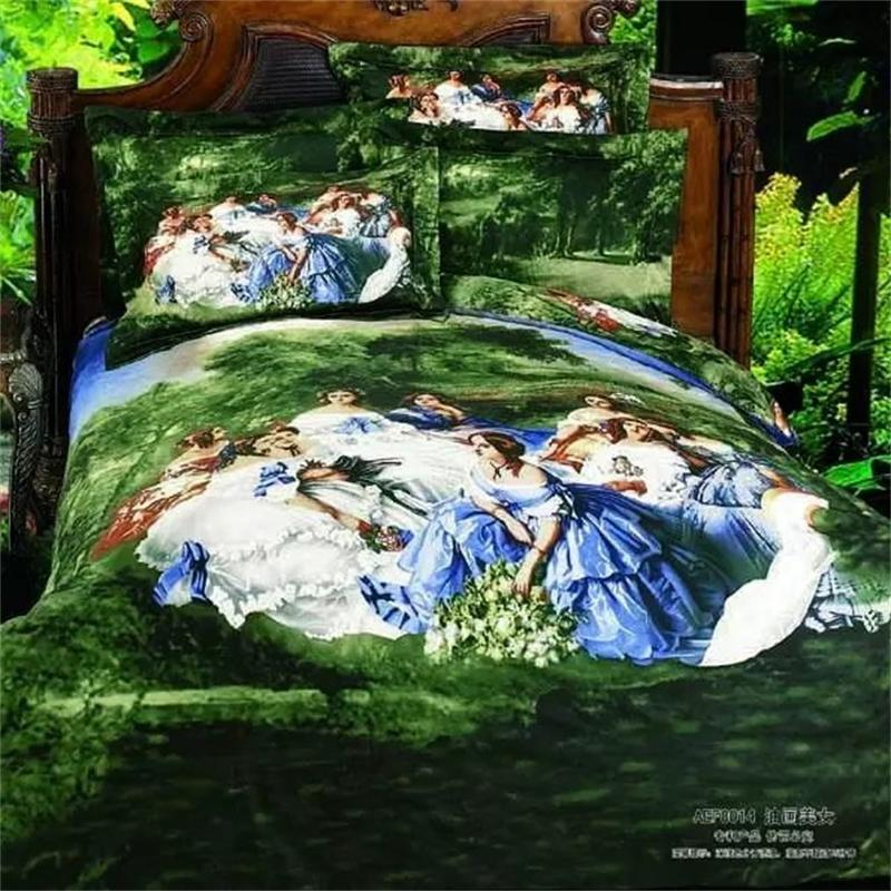 Luxury Rococo Style 3D Oil Painting Forest Party Bedding Sets Queen Size 100% Cotton Home Textiles Bed Sheets Duvet Cover SetLuxury Rococo Style 3D Oil Painting Forest Party Bedding Sets Queen Size 100% Cotton Home Textiles Bed Sheets Duvet Cover Set