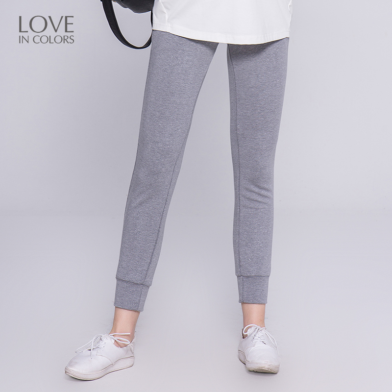 Loveincolors Pregnancy Women Pants Sports Cotton Soft Fake Zippers Knitted Spring Support Belly Solid Maternity Women Clothes loveincolors new fashion pregnancy women