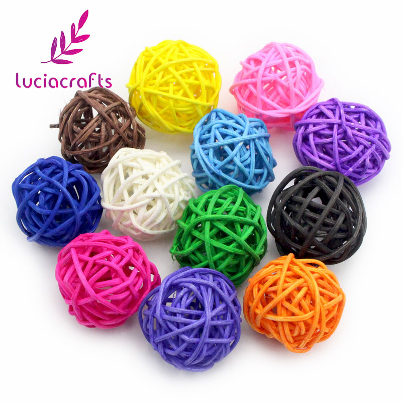 Confident Lucia Crafts 6pcs 5cm Colorful Rattan Balls Diy Ornaments Home Ornament Christmas/birthday Wedding Party Decoration Craft 024049 Famous For Selected Materials Delightful Colors And Exquisite Workmanship Novel Designs