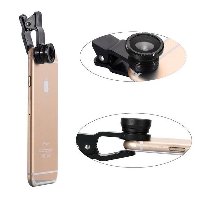 2018 3in1 Universal Mobile Phone Lenses Fish Eye Lens Wide Angle Macro Lens for Iphone 8 X 7 6 S 5S SE Samrtphone Fisheye Lentes