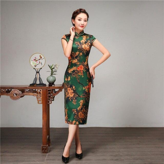 6eef477837d Vintage Lady Mandarin Collar Cheongsam Royal Slim Summer Short Sleeve Qipao  Asian Women Casual Daily Chinese