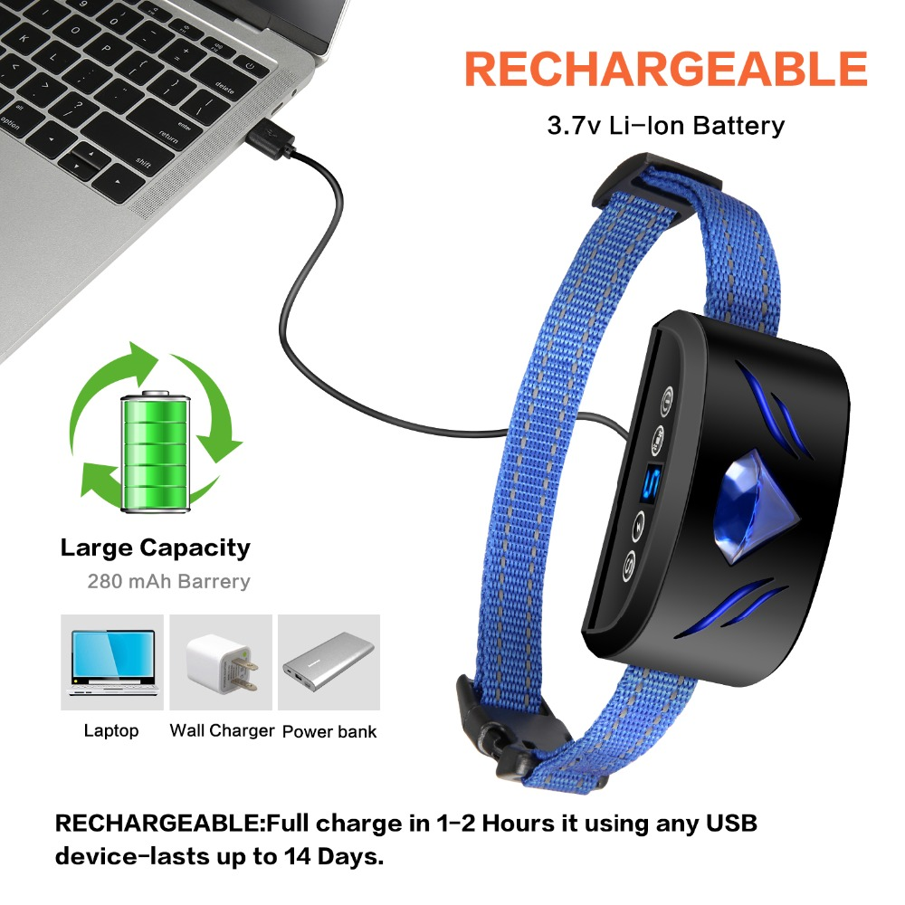 Anti Barking and Rechargeable Dog Shock Collar for Dog Training with Vibration and Shock Button 1