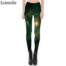 Leimolis 3D printed fitness push up workout leggings women gothic Green galaxy space plus size High Waist punk rock pants