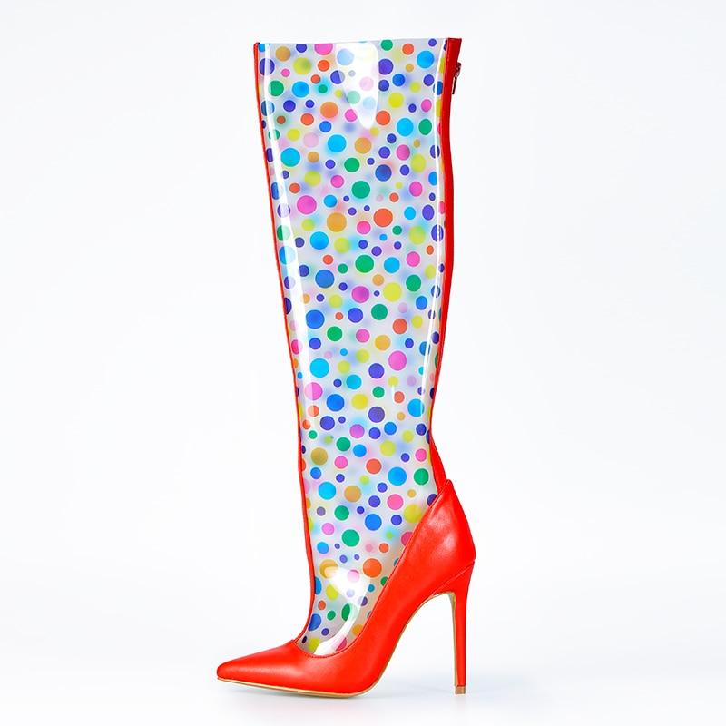 Rosa Palms Schuhe Frauen Transparent Stiefel Herbst Hohe Ferse Plexiglas Schuhe Klar PVC mit Polka Dot Über das Knie Stiefel damen Boot-in Überknie-Stiefel aus Schuhe bei  Gruppe 2