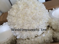 Foam Flower Ball 38cm Caliber Fake Flower Ball In White Color Artificial Rose Ball Wedding Decoration