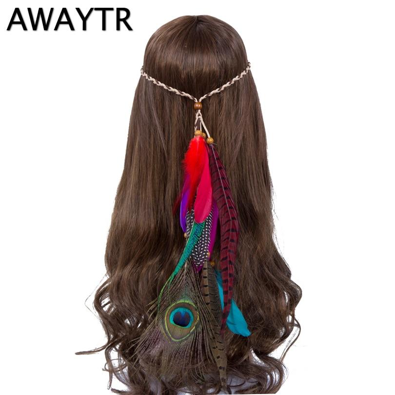 Feather Headband AWAYTR New Fashion Women Headwear Indian Head Pieces Peacock Halloween Boho Rhinestone Headbands Hair bands