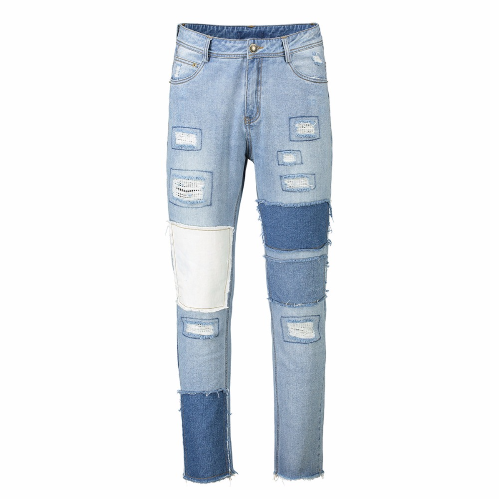 2018 Fashion Patch Splicing Men Jeans Business Casual Thin Summer Straight Slim Fit Blue Jeans Stretch Denim Pants Trousers