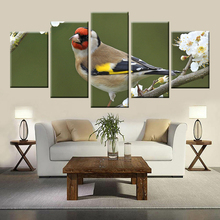 Nordic poster style HD canvas art wall living room bedroom home decoration painting 5 panel goldfinch and flower animal painting the goldfinch