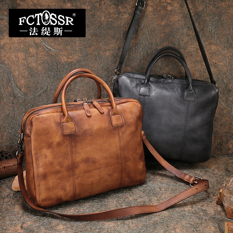 2018 Men Shoulder Bags Genuine Leather Briefcase Business Big Bag Laptop Mens Handbag Handmade Messenger Bag Double Compartment ...
