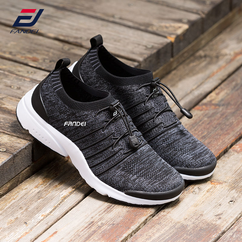 FANDEI spring outdoor running shoes for men sport shoes breathable mesh walking sneakers men cushioning sole air sneakers men sport running shoes for man 2017 summer spring comfortable cushioning sneaker black gray red white flat walking