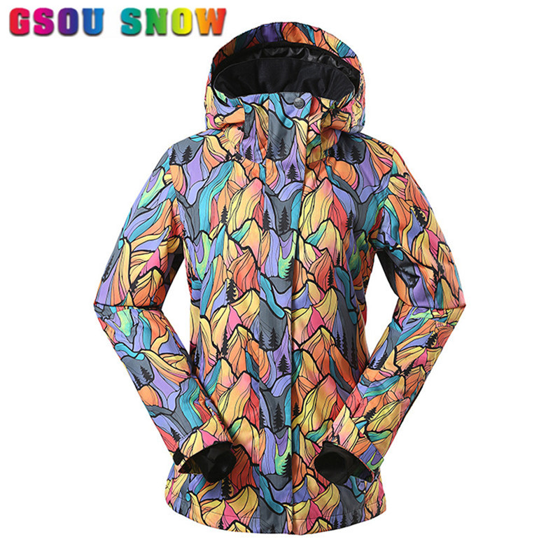 Gsou Snow Brand Winter Snowboard Jacket Women Waterproof 10000 Windproof Colorful Printed Female Outdoor Snowboarding Ski Jacket gsou snow ski jacket women winter snowboard jacket waterproof 10000 breathable 10000 female warmth thermal sports ski clothes